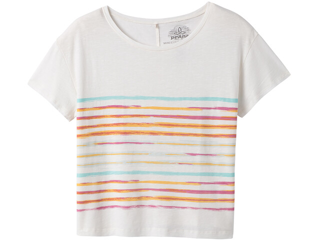 Prana Chez Camiseta Manga Corta Mujer, soft white stripe